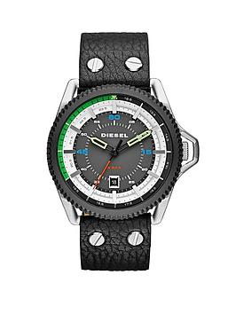 Diesel Rollcage Gunmetal Dial and Stainless Steel with Black Leather Strap Mens Watch