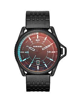Diesel Rollcage Black Dial and Black IP Bracelet Mens Watch