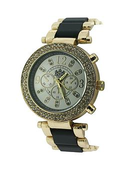 lydc-gold-tone-and-black-link-imitation-multi-dial-ladies-watch