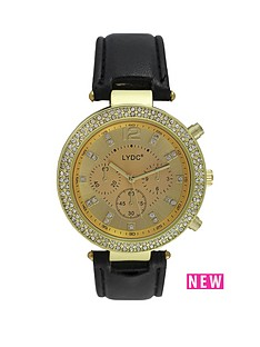 lydc-gold-tone-crystal-set-dial-black-strap-ladies-watch