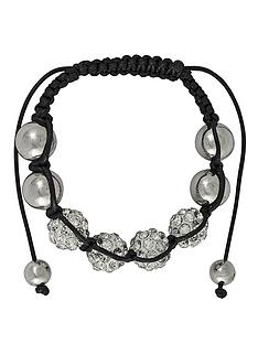 silver-tone-and-black-cord-white-crystal-beaded-bracelet