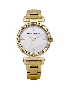 french-connection-crystal-bezel-set-gold-tone-stainless-steel-bracelet-ladies-watch