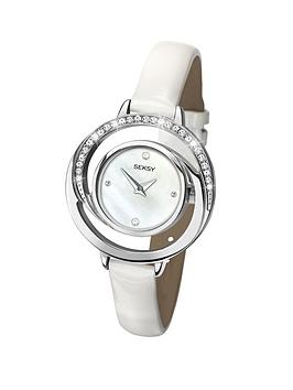 Seksy Mother-of-Pearl Dial Crystal Set White Leather Strap Ladies Watch