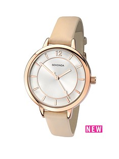 sekonda-mother-of-pearl-dial-gold-case-black-strap-ladies-watch