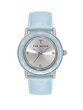Ted Baker Silver Dial Blue Leather Ladies Watch