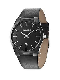 police-target-black-leather-strap-mens-watch