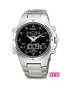pulsar-duo-display-multifunction-world-timer-black-dial-silver-bracelet-mens-watch