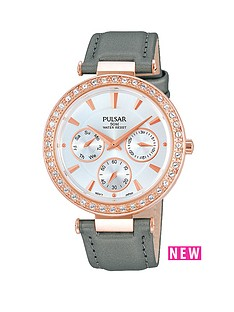 pulsar-multidial-rose-gold-white-dial-grey-fine-mesh-strap-ladies-watch