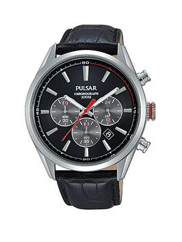 Pulsar Chronograph Black Dial with Grey Accents Black Leather Strap Gents Watch