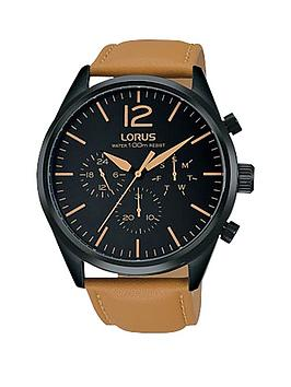 lorus-multi-function-black-dial-with-camel-coloured-leather-strap-mens-watch