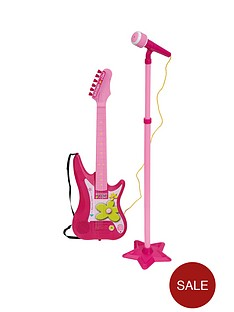 bontempi-pink-electric-guitar-with-stand-microphone
