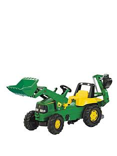 rolly-toys-rolly-junior-john-deere-tractor-with-frontloader-and-rear-excavator