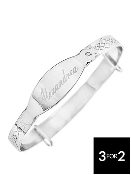 the-love-silver-collection-sterling-silver-childs-celtic-diamond-set-personalised-id-expander-bangle