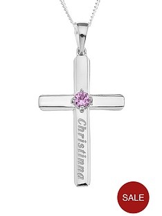 love-silver-personalised-sterling-silver-birthstone-cross-pendant