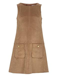 river-island-girls-tan-suedette-shift-dress