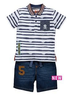 ladybird-printed-polo-t-shirt-and-denim-shorts-set