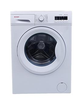 sharp-es-fa6102w2-1000-spin-6kg-load-slimline-washing-machine-white