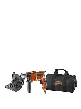 black-decker-kr714cresk-gb-710w-corded-percussion-hammer-drill-plus-a7216-xj-32-piece-accessory-set-in-softbag