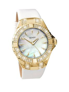 172f97ce755d Seksy Gold Plated Case with Crystal from Swarovski® Elements White Leather  Strap Ladies Watch