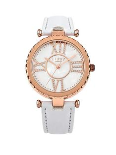 lipsy-rose-gold-tone-roman-numerals-dial-white-strap-ladies-watch