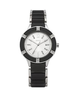 Oasis White Dial Silver Tone Black Inlay Ladies Watch