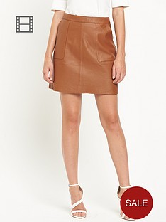 warehouse-leather-a-line-skirt