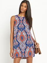 Sleeveless Blue/Orange Paisley Print Dress