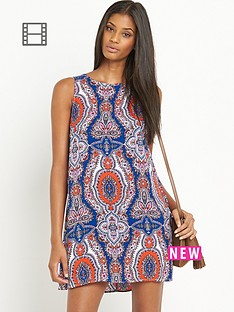 glamorous-sleeveless-blueorange-paisley-print-dress
