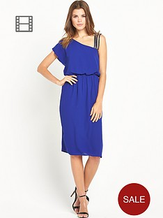 warehouse-one-shoulder-diamante-strap-dress