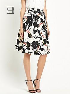 warehouse-poppy-print-skirt