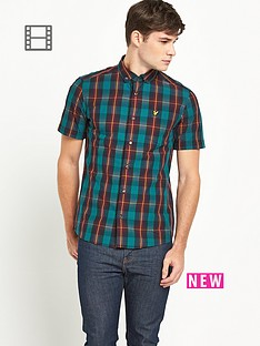 lyle-scott-mens-short-sleeve-check-shirt-new-navy