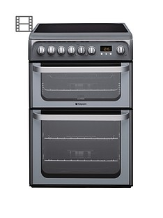 hotpoint-ultima-hue61gs-60cm-double-oven-electric-cooker-with-ceramic-hob-graphite