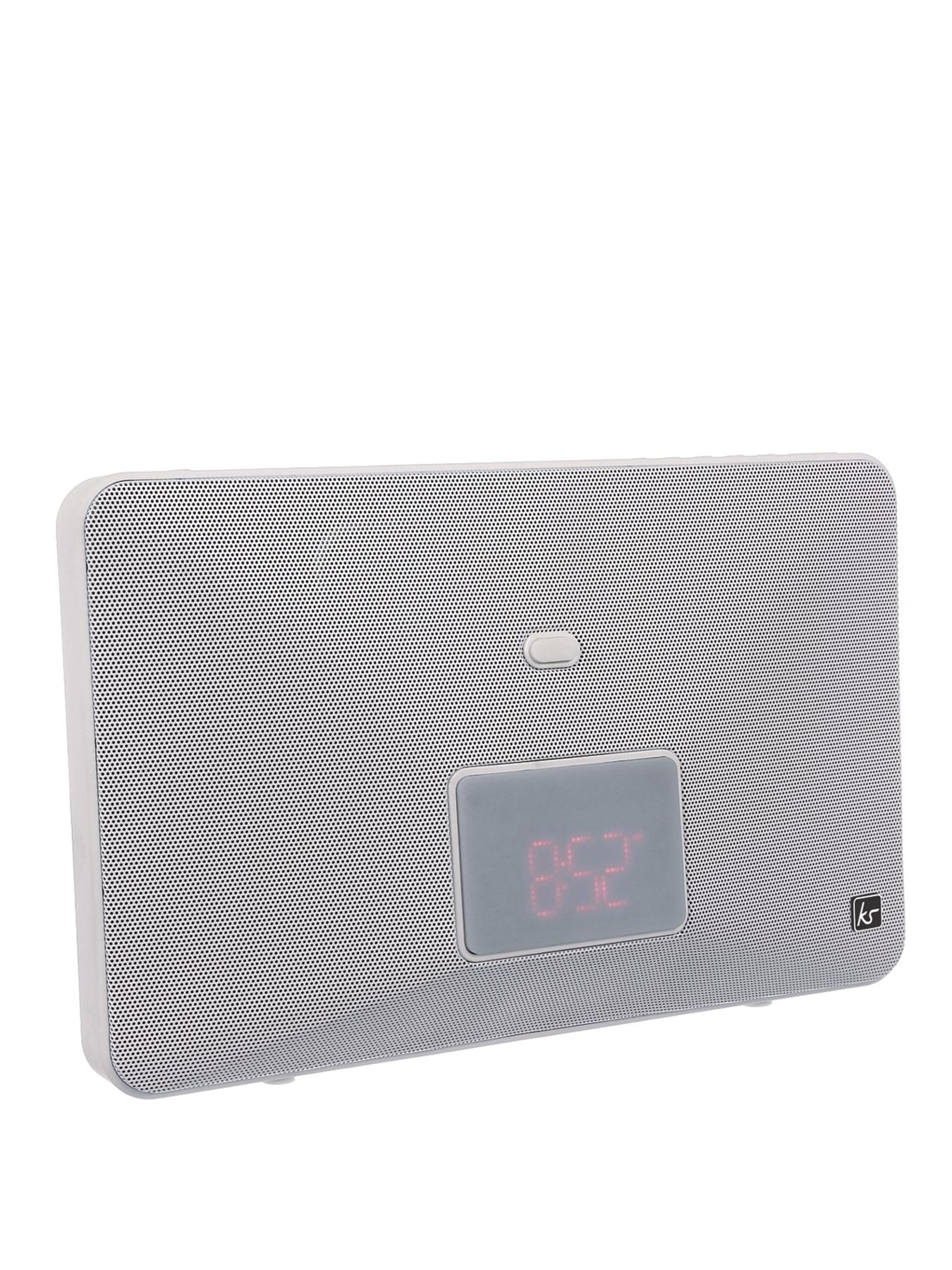 Kitsound Fresh 8 Pin Lightning Clock Radio Speaker Docking Station - White