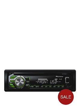 pioneer-deh-1600ubg-cd-tuner-mp3-usb-green-and-white-display