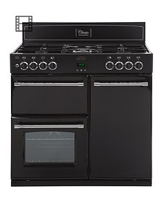 belling-90dft-90cm-double-oven-dual-fuel-classic-range-cooker-black