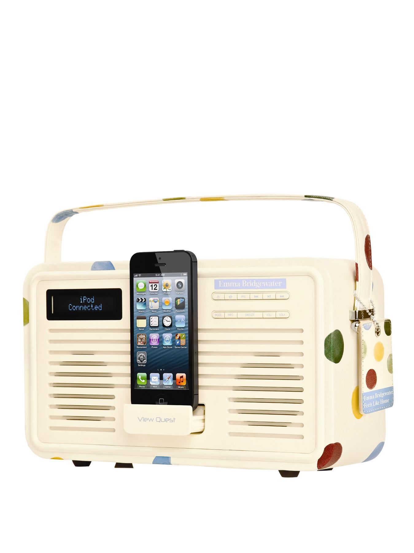View Quest Emma Bridgewater Retro DAB Radio with Lightning Dock - Polka Dot