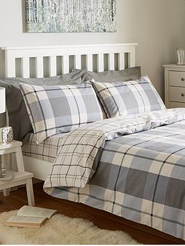 brushed-cotton-check-duvet-cover-set-grey