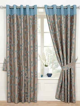 bay-leaf-flocked-lined-eyelet-curtains