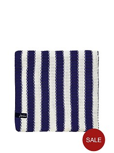 joules-moss-stitch-stripe-blanket-blue
