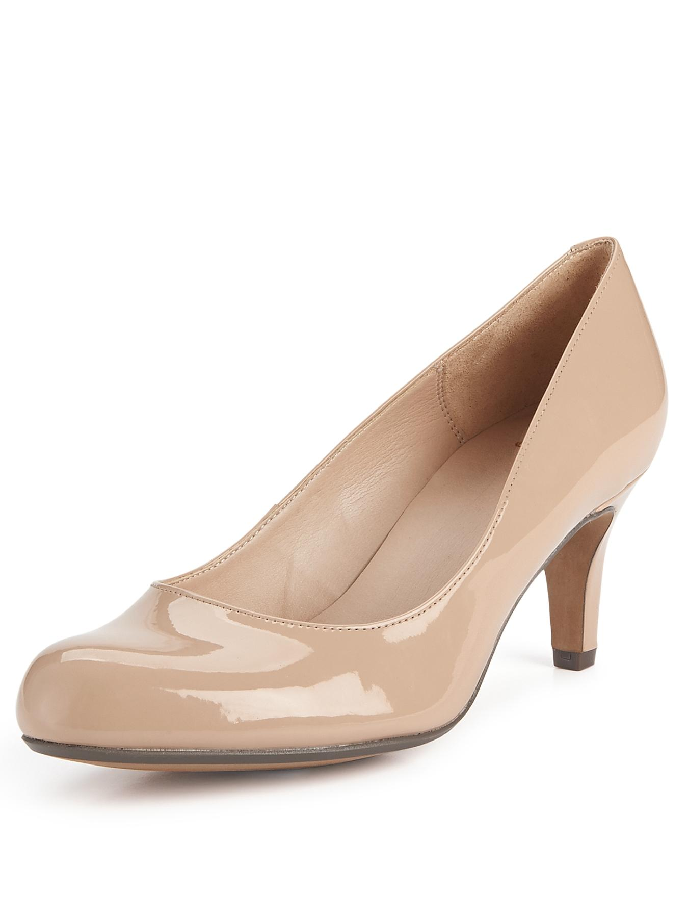 Clarks Arista Abe Court Shoes - Nude Patent - Nude, Nude