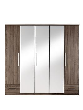 cologne-5-door-2-drawer-mirrored-wardrobe