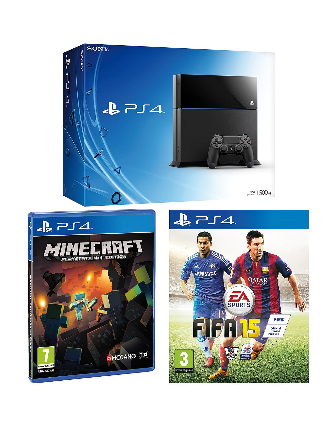 Playstation 4 Console with FIFA 15 and Minecraft