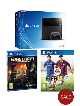 playstation-4-500gb-console-fifa-15-minecraft-free-driveclub