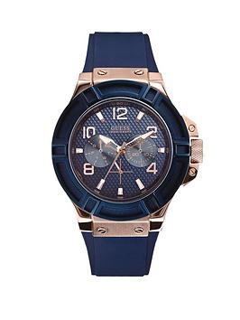 Guess Rigor Sunray Blue Multifunctional Dial Rose Gold Blue Smooth Silicone Strap Watch