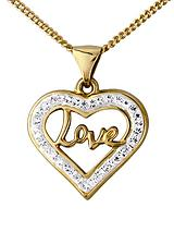 9 Carat Yellow Gold Crystal Love Pendant
