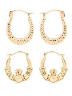 love-gold-9-carat-yellow-gold-oval-patterned-and-claddagh-creole-earrings-set-of-2