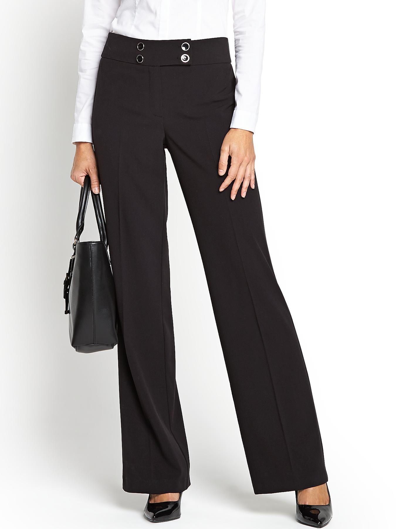 Savoir PVL Wide Leg Trousers - Black, Grey,Black