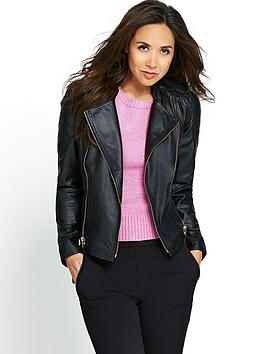 myleene-klass-gold-trim-leather-biker-jacket