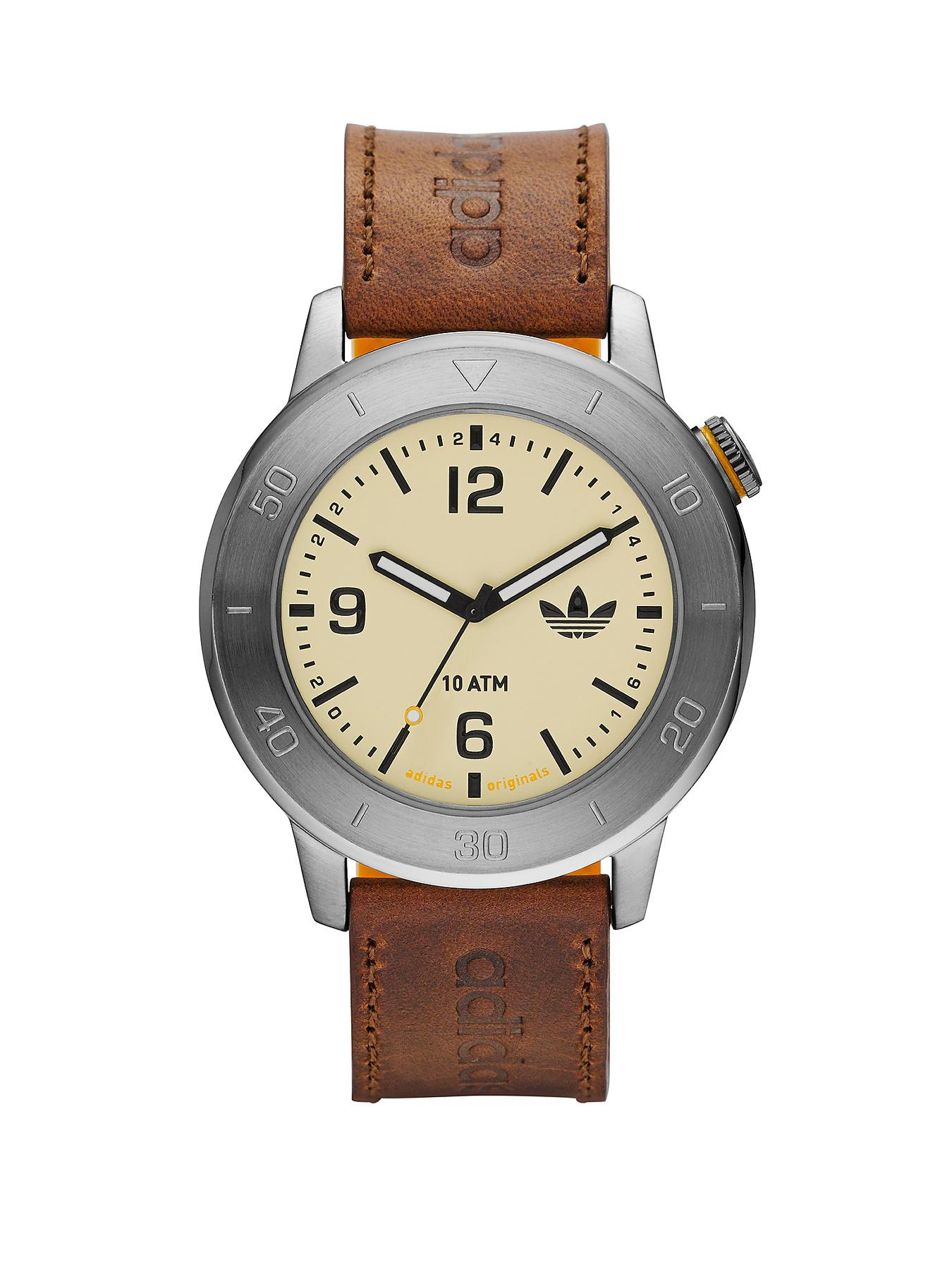 adidas Manchester Brown Leather Silicone Mens Watch