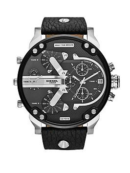 Diesel Mr Daddy Black and Stainless Steel Dial with Black Leather Strap Mens Watch
